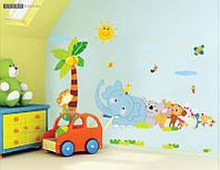 Интерьерная наклейка в детскую комнату  Веселый зоопарк