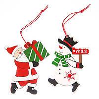 """Пара елочных игрушек """"Дед мороз и Снеговик"""" 2шт."""