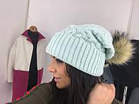 Теплая шапочка узор коса,4 цвета, с бубоном внк 1