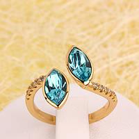 011-0021 - Позолоченное кольцо с кристаллом Swarovski Marquise Crystal Aquamarine, р-р 18-18.5