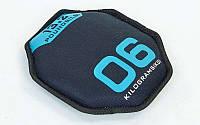 Диск мягкий - гантеля  SAND BELLS (вес-6кг, d-26см, неопрен, напол.-метал.шарики, син)