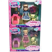 Кукла маленькая 63001 2 вида, с питомцем,домиком,миской,аксесс