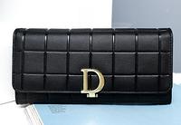 Модный женский классический кошелек из натуральной кожи черного цвета