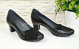 Туфли кожаные женские на каблуке с замшевыми вставками, фото 2