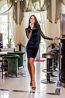 Женское бархатное платье с открытой спиной (синее)  Love KAN № 0210