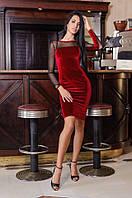 Женское бархатное платье с открытой спиной (красное)  Love KAN № 0210