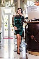 Женское бархатное платье с открытой спиной (изусрудное)  Love KAN № 0210