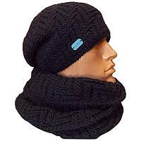 Мужская вязаная шапка - носок и шарф - хомут объемной ручной вязки