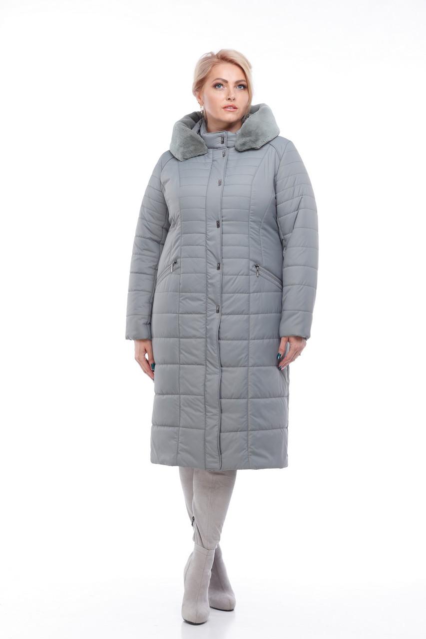 Фисташковое Зимнее стеганное пальто женское 48-60