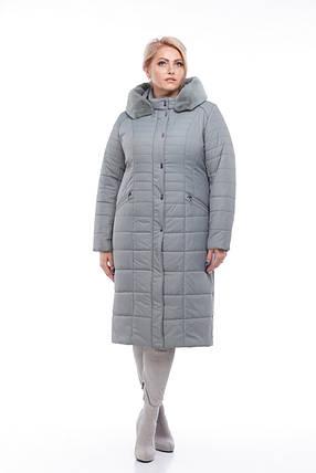 Фисташковое Зимнее стеганное пальто женское 48-60, фото 2