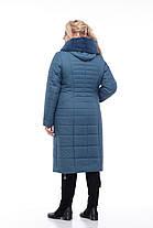Фисташковое Зимнее стеганное пальто женское 48-60, фото 3