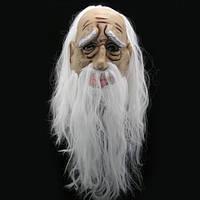 Латексная маска Старик с волосами