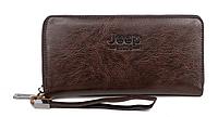 Мужской удобный коричневый кожаный кошелек клатч Jeep Buluo  на молнии