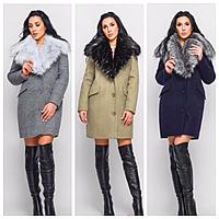 Женское теплое пальто на зиму с мехом