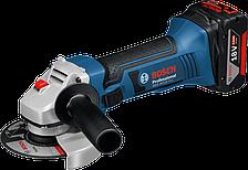 Аккумуляторная угловая шлифмашина Bosch GWS 18-125 V-LI Professional (4 А/ч, 125 мм) дополнительная рукоятка, кейс L-BOXX 136, защитный кожух, быстрозарядное устройство, 1/1 вкладыш для кейса L-BOXX под инструмент и зарядное устройство, 2 аккумулятора GBA
