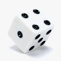 Кубик для настольных игр Кубик D6 8 мм (маленький, белый)
