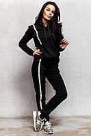 Теплый женский спортивный костюм черный, графит код ак 38