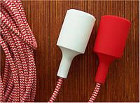 Текстильный провод красно-белого цвета, шеврон, зиг-заг, елочка.