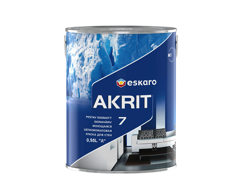 Краска  латексная ESKARO AKRIT 7 интерьерная белая-база А 0,95л