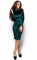 Приталене велюрове темно-зелене плаття Ornella (M, L)