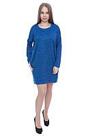 Теплое платье-туника 555 электрик, фото 1