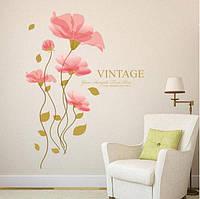 Декоративная наклейка на стену Розовый цветок