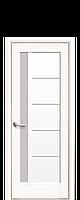 Межкомнатная дверь Грета с матовым стеклом ПВХ Deluxe белый матовый