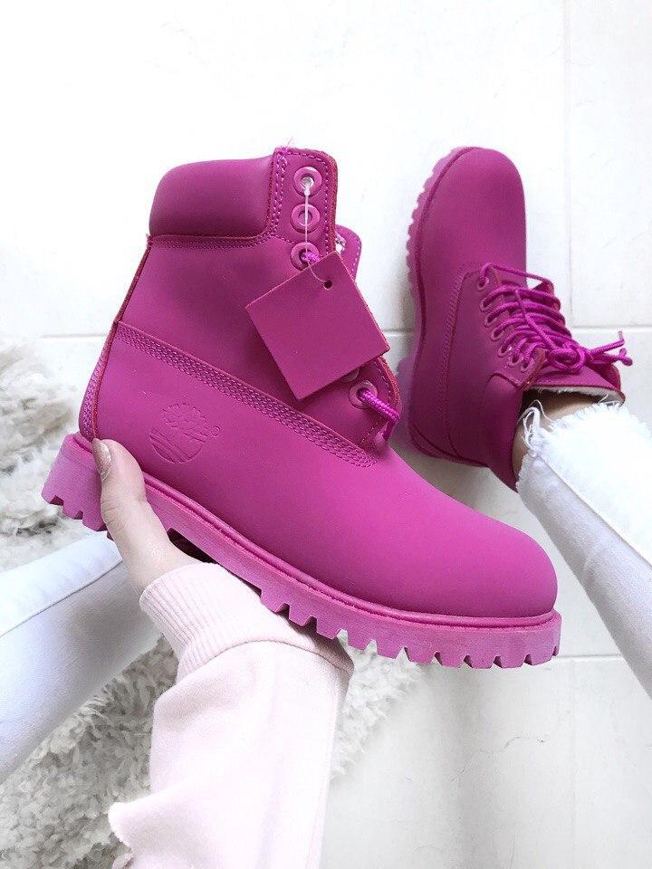 Зимние ботинки Timberland 6 inch purple на меху (Реплика ААА+)