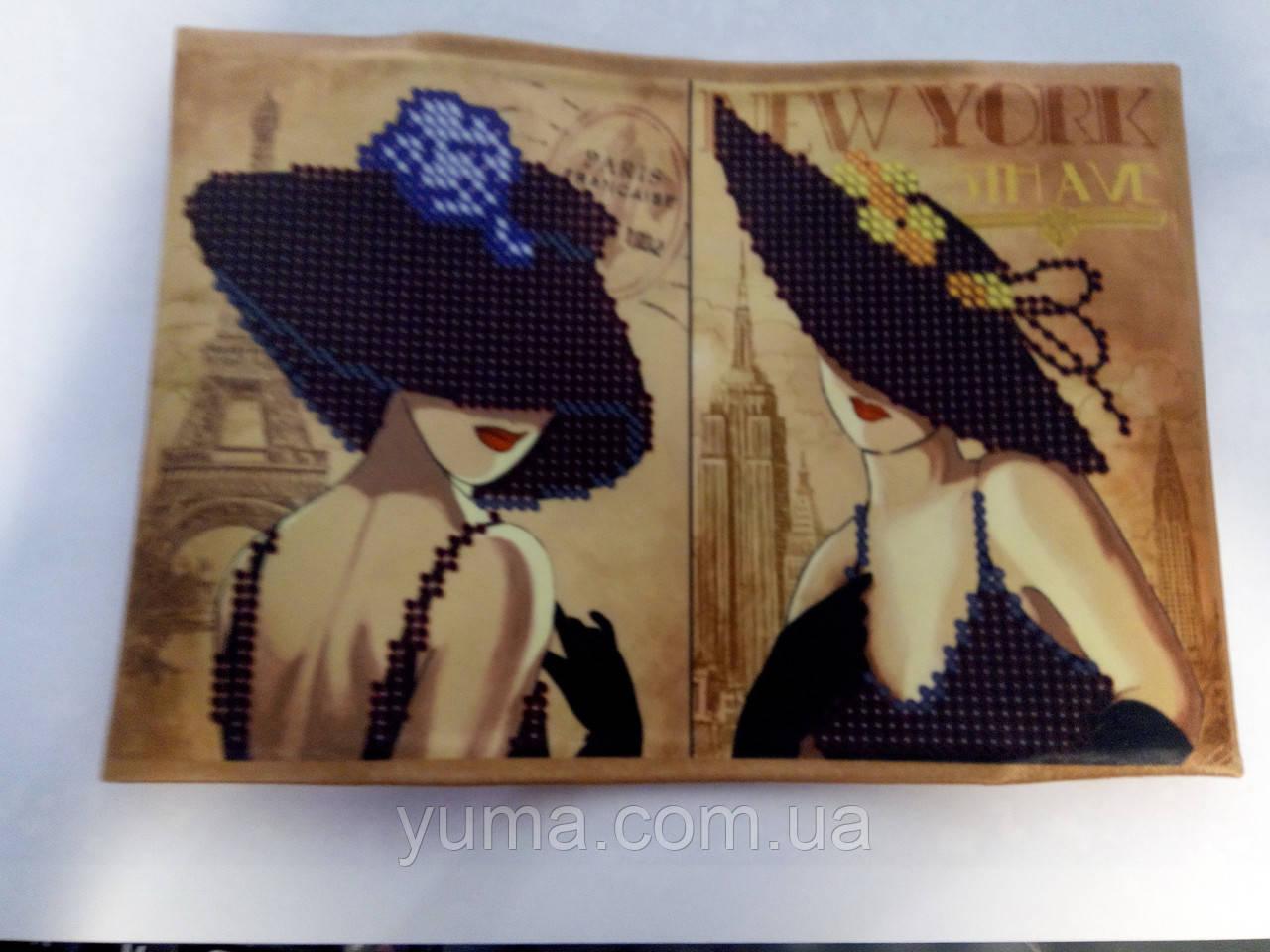 Сшитая обложка на паспорт для вышивки бисером Дамочка