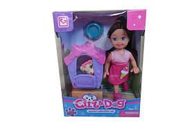 Кукла маленькая K899-20  c собачкой,будкой,миской