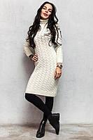 Белое вязаное платье гольф код ак45