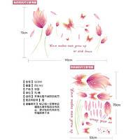 Наклейка в комнату на стену Цветы розовые