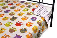 Покрывало на кровать, диван в детскую 150х212 сатин Совы двустороннее