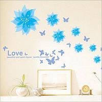 Наклейка в комнату на стену Цветы голубые