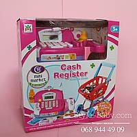 Магазин с кассой и тележкой на батарейке коробка