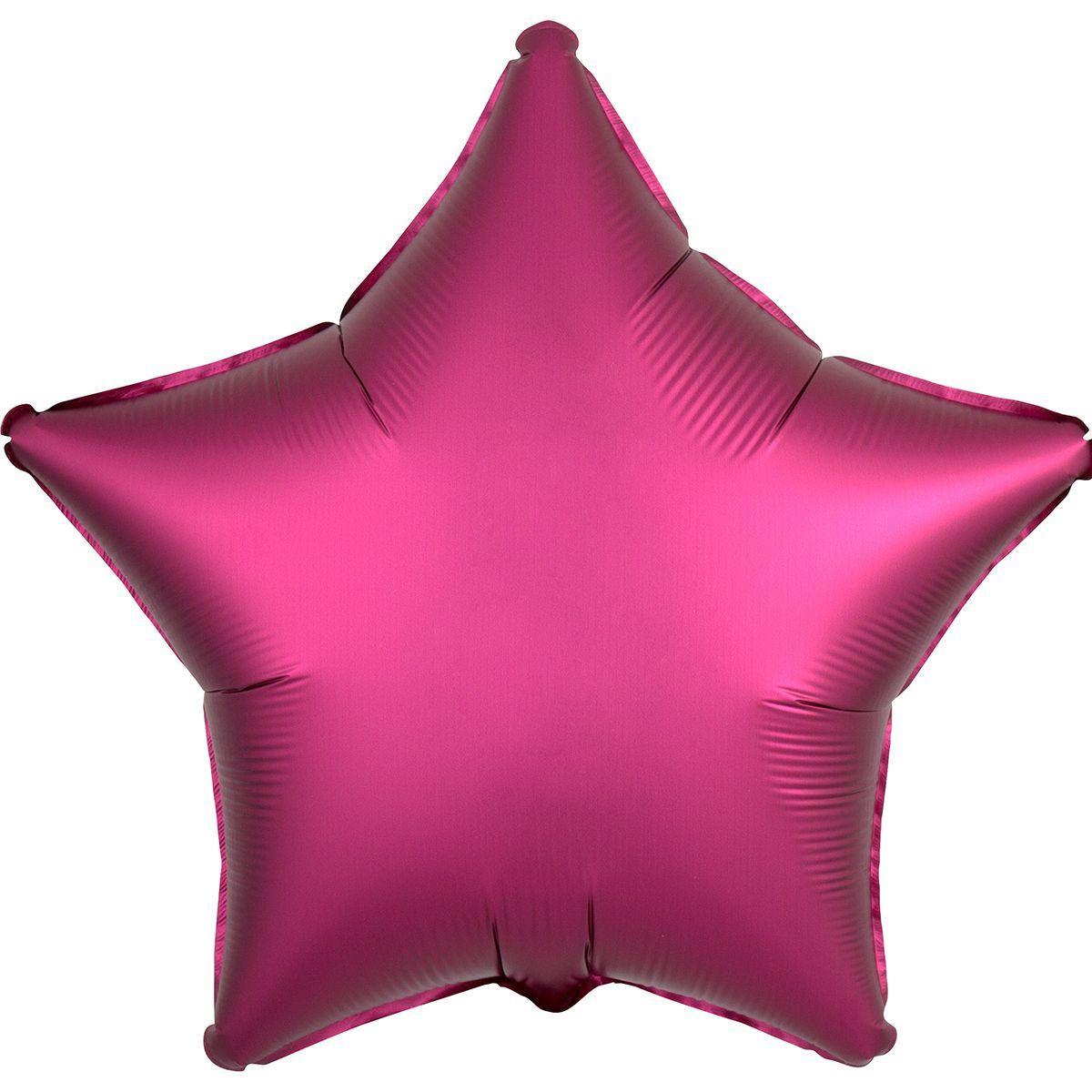 Шар звезда 46 бургунди сатин (гелий)