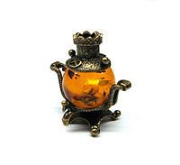 Фигурка миниаютра Самовар бронза и янтарь