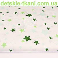 """Ткань """"Звёздный карнавал"""" с зелёными и мятными звёздами на белом фоне, № 1035а"""