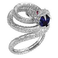 Кольцо  женское серебряное змея Аспид 212280