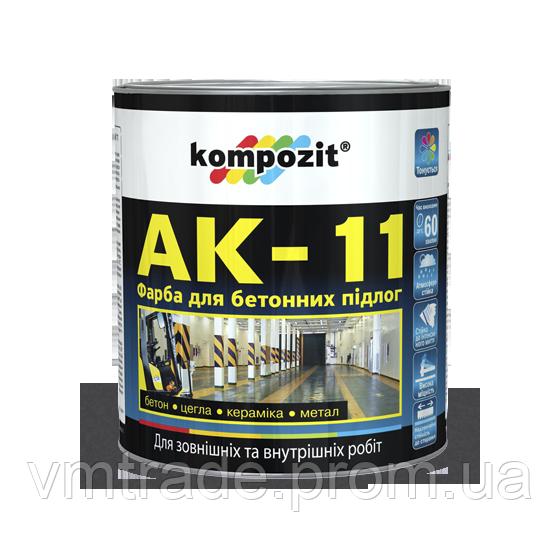 Копия Kompozit Краска для бетонных полов АК-11 серая, 2.8 кг