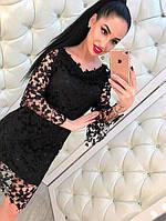Женское черное платье из дорогого кружева