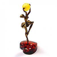 Фигурка Балерина миниатюрная бронза и янтарь