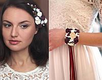 """""""Элегантный бордо""""(браслет+заколка). Свадебный комплект украшений ручной работы"""
