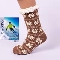 Тёплые домашние носки с тормозами Золото HD3003-6