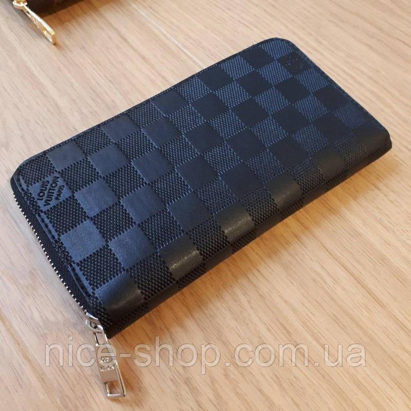 Кошелек Louis Vuitton, черная клетка, на молнии, фото 2