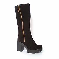 Сапоги из натурального замша черного цвета, на устойчивом каблуке