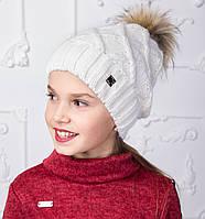 Вязанная шапка с меховым помпоном для девочек на зиму - Артикул 2150-1