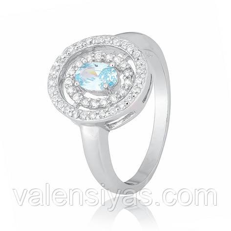 Кольцо серебряное с голубым камнем им. топаз КК2ФТ/436, фото 2