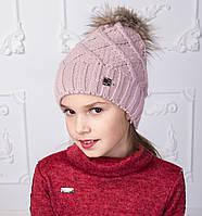 Вязанная шапка с меховым помпоном для девочек на зиму - Артикул 2150-4