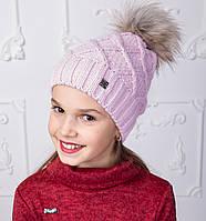 Вязанная шапка с меховым помпоном для девочек на зиму - Артикул 2150-5